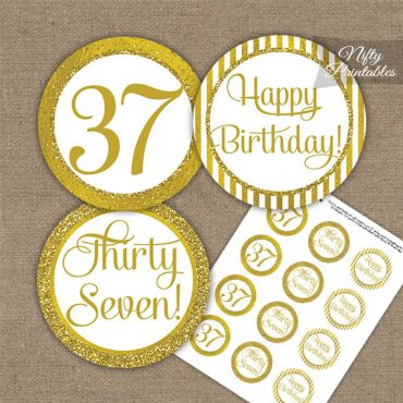 37th Birthday Cupcake Toppers - All Gold