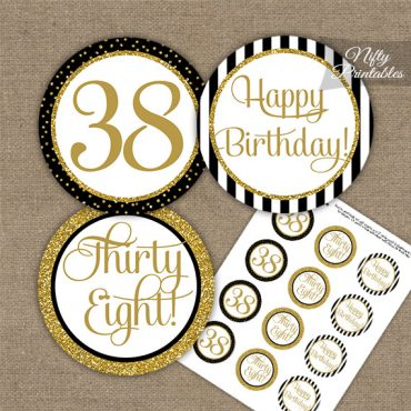 38th Birthday Cupcake Toppers - Black Gold