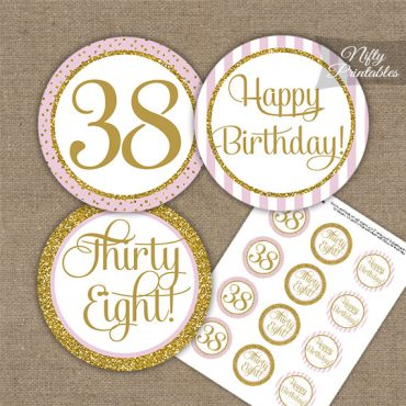 38th Birthday Cupcake Toppers - Pink Gold