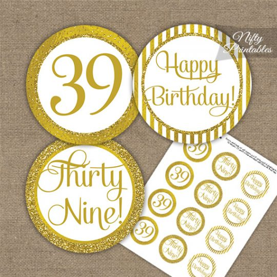 39th Birthday Cupcake Toppers - All Gold