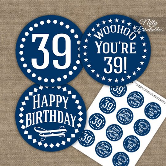 39th Birthday Cupcake Toppers - Navy White Impact