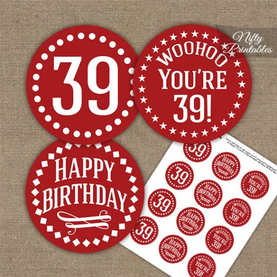 39th Birthday Cupcake Toppers - Red White Impact