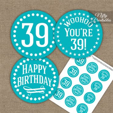 39th Birthday Cupcake Toppers - Turquoise White Impact