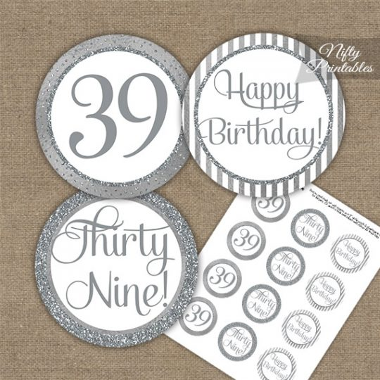 39th Birthday Cupcake Toppers - All Silver