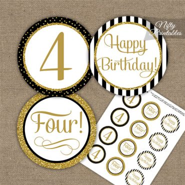 4th Birthday Cupcake Toppers - Elegant Black Gold