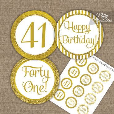 41st Birthday Cupcake Toppers - All Gold