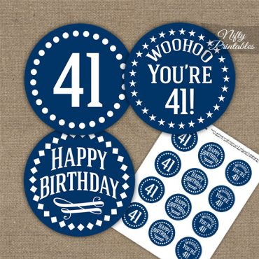 41st Birthday Cupcake Toppers - Navy White Impact