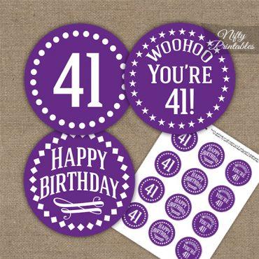 41st Birthday Cupcake Toppers - Purple White Impact
