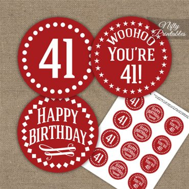 41st Birthday Cupcake Toppers - Red White Impact