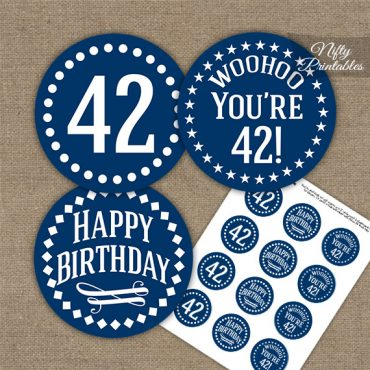 42nd Birthday Cupcake Toppers - Navy White Impact