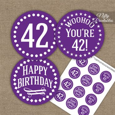 42nd Birthday Cupcake Toppers - Purple White Impact