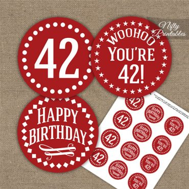 42nd Birthday Cupcake Toppers - Red White Impact