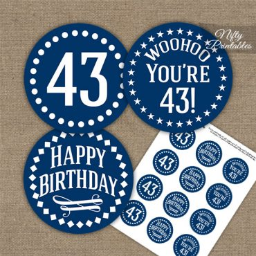 43rd Birthday Cupcake Toppers - Navy White Impact