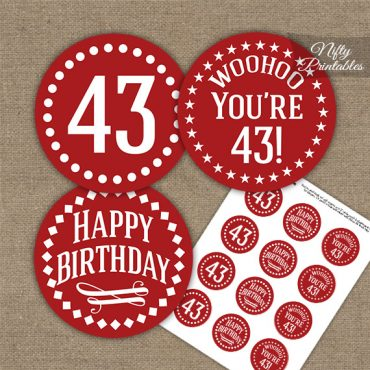43rd Birthday Cupcake Toppers - Red White Impact