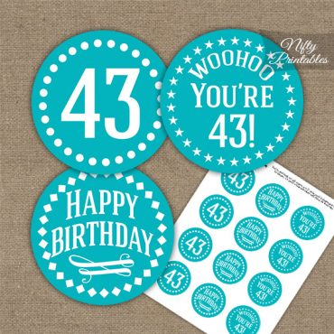 43rd Birthday Cupcake Toppers - Turquoise White Impact