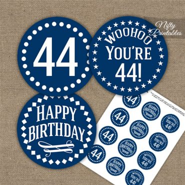 44th Birthday Cupcake Toppers - Navy White Impact