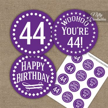 44th Birthday Cupcake Toppers - Purple White Impact
