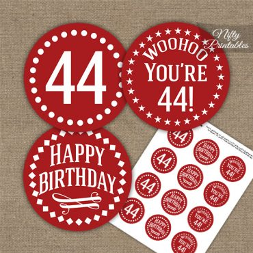 44th Birthday Cupcake Toppers - Red White Impact