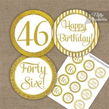 46th Birthday Cupcake Toppers - All Gold
