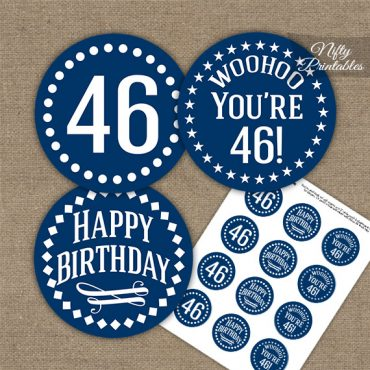 46th Birthday Cupcake Toppers - Navy White Impact