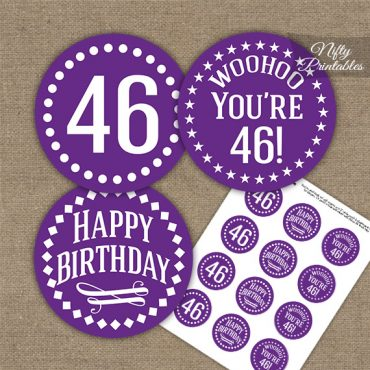 46th Birthday Cupcake Toppers - Purple White Impact