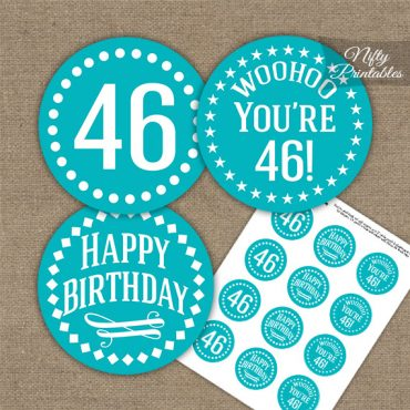 46th Birthday Cupcake Toppers - Turquoise White Impact
