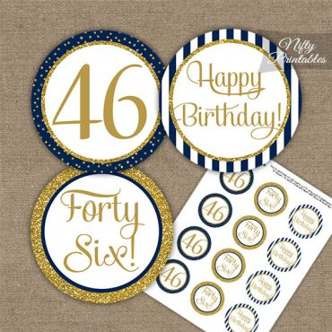 46th Birthday Cupcake Toppers - Navy Blue Gold