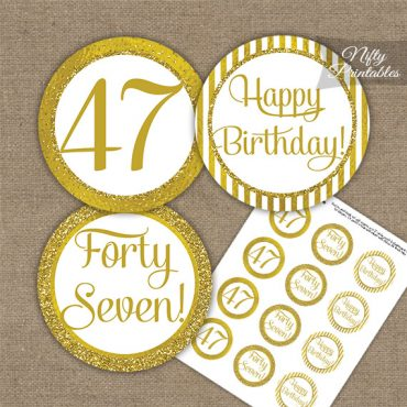 47th Birthday Cupcake Toppers - All Gold