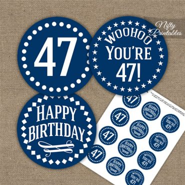 47th Birthday Cupcake Toppers - Navy White Impact