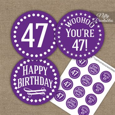 47th Birthday Cupcake Toppers - Purple White Impact