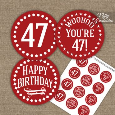 47th Birthday Cupcake Toppers - Red White Impact