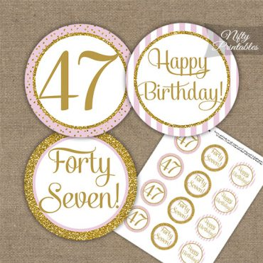 47th Birthday Cupcake Toppers - Pink Gold