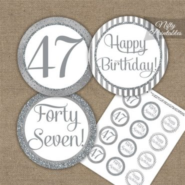 47th Birthday Cupcake Toppers - All Silver