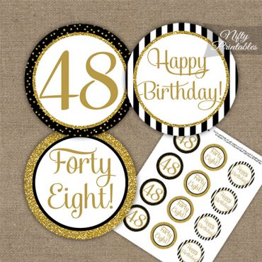 48th Birthday Cupcake Toppers - Black Gold