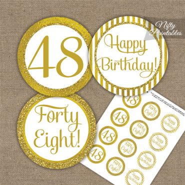 48th Birthday Cupcake Toppers - All Gold