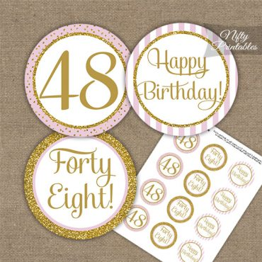 48th Birthday Cupcake Toppers - Pink Gold