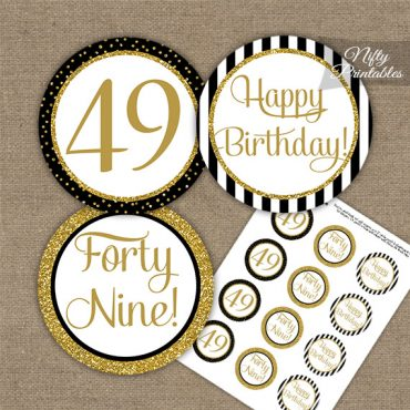 49th Birthday Cupcake Toppers - Black Gold