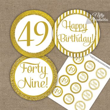 49th Birthday Cupcake Toppers - All Gold