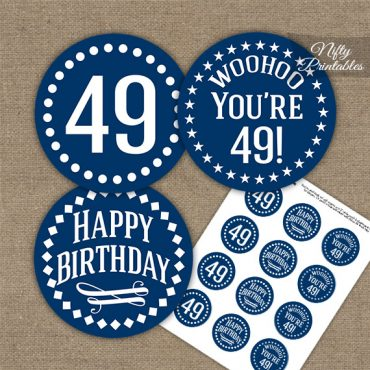 49th Birthday Cupcake Toppers - Navy White Impact