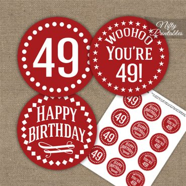 49th Birthday Cupcake Toppers - Red White Impact
