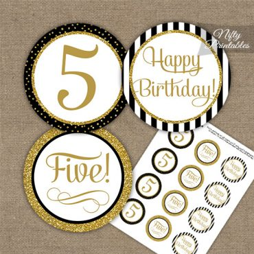 5th Birthday Cupcake Toppers - Elegant Black Gold