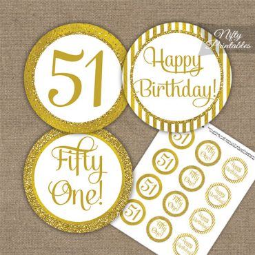 51st Birthday Cupcake Toppers - All Gold