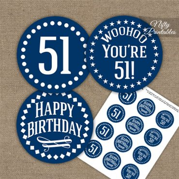 51st Birthday Cupcake Toppers - Navy White Impact