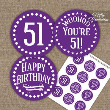 51st Birthday Cupcake Toppers - Purple White Impact