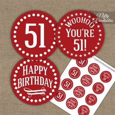 51st Birthday Cupcake Toppers - Red White Impact