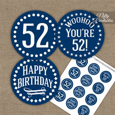 52nd Birthday Cupcake Toppers - Navy White Impact