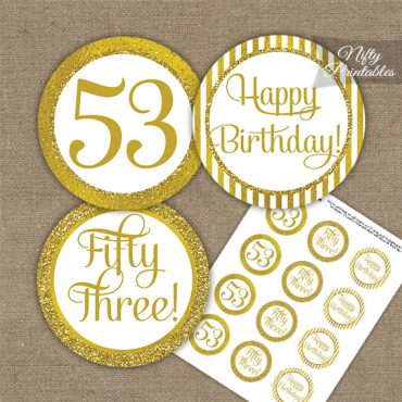 53rd Birthday Cupcake Toppers - All Gold