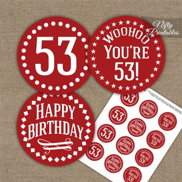 53rd Birthday Cupcake Toppers - Red White Impact