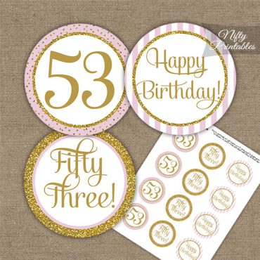 53rd Birthday Cupcake Toppers - Pink Gold