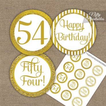 54th Birthday Cupcake Toppers - All Gold